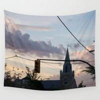 vancouver Wall Tapestries featuring Sunset over Main Street Vancouver by RMK Creative