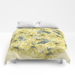 Sunflower burst Comforters