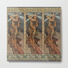 "Alphonse Mucha ""The Moon and the Stars Series: The Morning Star"" Metal Print"