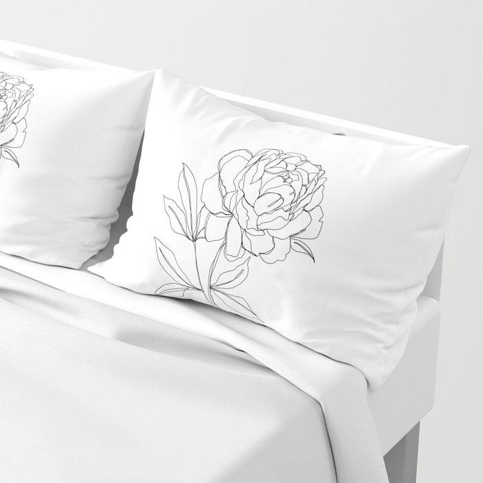 Botanical illustration line drawing - Peony Pillow Sham