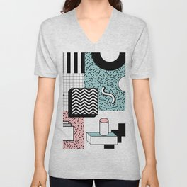 ABSTRACT PASTEL 80s POP ART RETRO PATTERN Unisex V-Neck