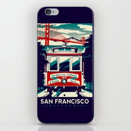 San Francisco Cable Car Trolley Golden Gate Bridge Retro Vintage iPhone Skin