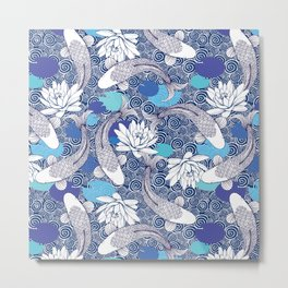 Blue Koi Ripples Metal Print