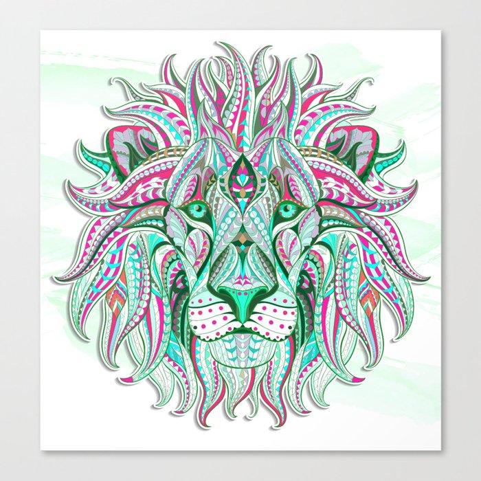 Sea Green Ethnic Lion Canvas Print