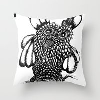 the who Throw Pillows featuring Who? by Yeshead