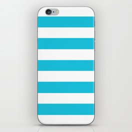 Caribbean blue - solid color - white stripes pattern iPhone Skin