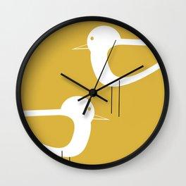 Shorebird Pair 2 in White and Light Mustard Wall Clock