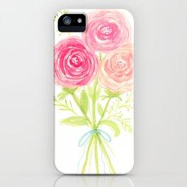 Spring Pastel Pink Flower Watercolor Bouquet iPhone Case