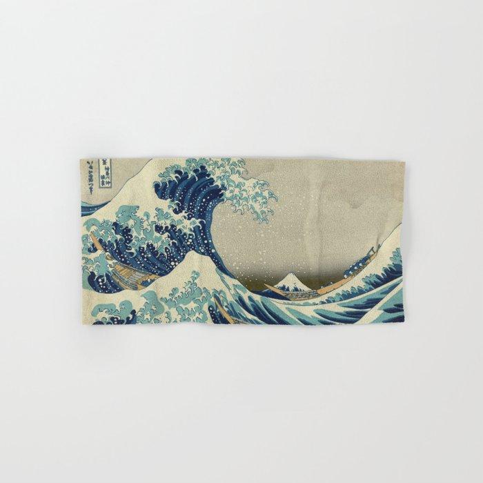 The Classic Japanese Great Wave off Kanagawa Print by Hokusai Hand & Bath Towel