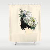 geisha Shower Curtains featuring Geisha by Hypathie Aswang