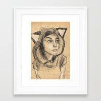 kitsune Framed Art Prints featuring Kitsune by Ryan Sheldon Art
