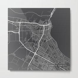 Corpus Christi Map, USA - Gray Metal Print