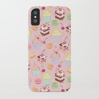 macaroon iPhone & iPod Cases featuring sweet pattern aka cake , cupcake and macaroon by Marta Olga Klara