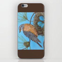 Robin with nest in Georgia pine tree iPhone Skin