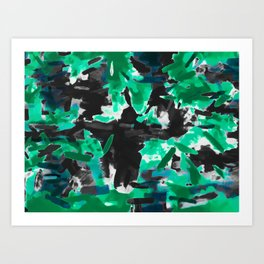 psychedelic vintage camouflage painting texture abstract in green and black Art Print