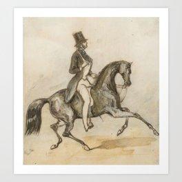 Constantin-Ernest-Adolphe-Hyacinthe Guys   1802 - 1892   PRESUMED PORTRAIT OF THE COMTE D'ORSAY RIDI Art Print
