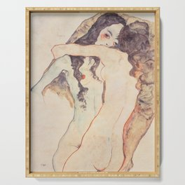 Two Women Embracing, Egon Schiele Serving Tray