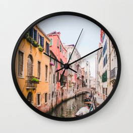 Colorful Pink Yellow Blue Venice Canals | Europe Italy City Travel Photography Wall Clock