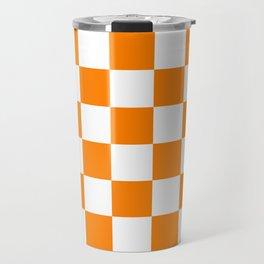 Checkered - White and Orange Travel Mug