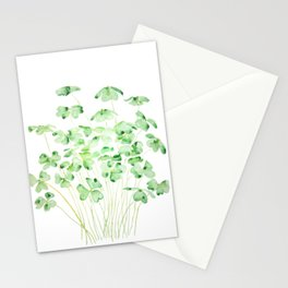 green clover leaf  watercolor arts 2021 Stationery Cards