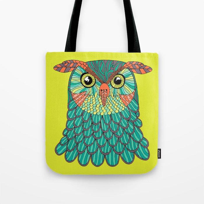 owl - Lime green Tote Bag