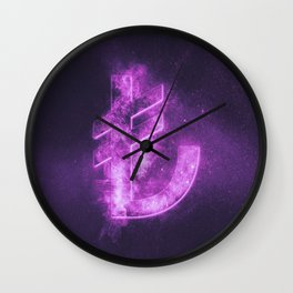 Turkish Lira Symbol. Turkish Lira Sign. Monetary currency symbol. Abstract night sky background. Wall Clock