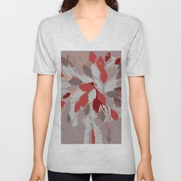 Tree, felted mixed media textile fiber art in gray and red Unisex V-Neck