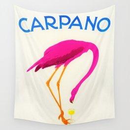 Vintage Carpano Pink Flamingo Motif Vermouth Advertisement Poster Wall Tapestry