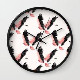 Flamingo - pink and black flight pattern Wall Clock