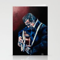 johnny cash Stationery Cards featuring Johnny Cash by Nicole Kallenberg