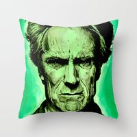 clint eastwood Throw Pillows featuring Clint Eastwood by Jason Hughes