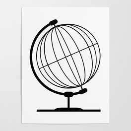 Mounted Wireb Globe On Rotating Swivel Poster