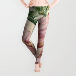 Exotic Tropical Pink Floral with Ferns Pattern Leggings