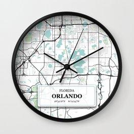 Orlando Florida City Map with GPS Coordinates Wall Clock