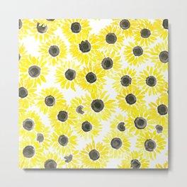 Sunflowers watercolor pattern Metal Print