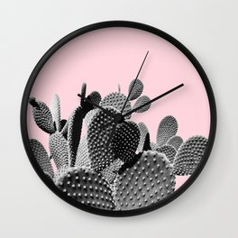 Bunny Ears Cactus on Pastel Pink #cactuslove #tropicalart Wall Clock
