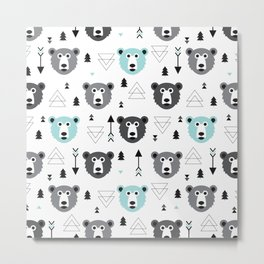 Geometric grizzly bear and arrows Metal Print