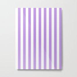 Narrow Vertical Stripes - White and Light Violet Metal Print