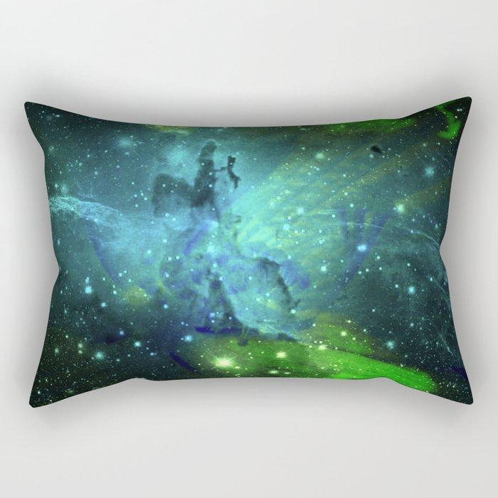 Blue Green Floral Space Explosion Rectangular Pillow