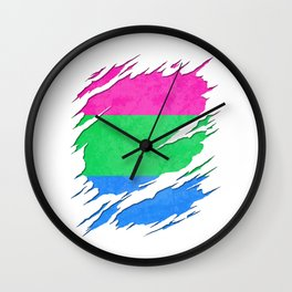 Polysexual Pride Flag Ripped Reveal Wall Clock