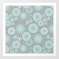 Mint and grey geometric flowers Art Print