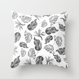 Plam Pattern Light Black and White Throw Pillow
