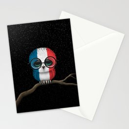 Baby Owl with Glasses and French Flag Stationery Cards