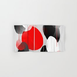 Modern Anxiety Abstract - Red, Black, Gray Hand & Bath Towel