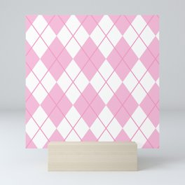 Pink Argyle Mini Art Print