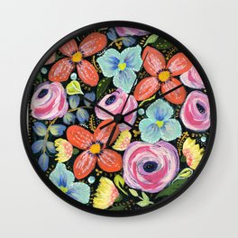 Roses and posies Wall Clock