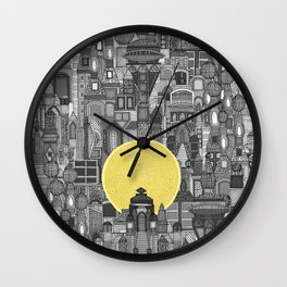 space city sun bw Wall Clock