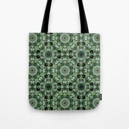Silver and green botanical mandala Tote Bag