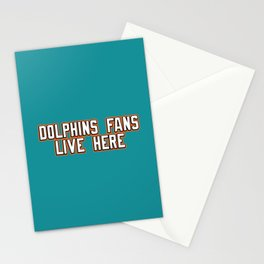 Dolphins Fans Live Here Stationery Cards