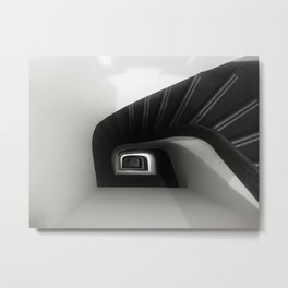 Spiral Black and White Staircase Metal Print